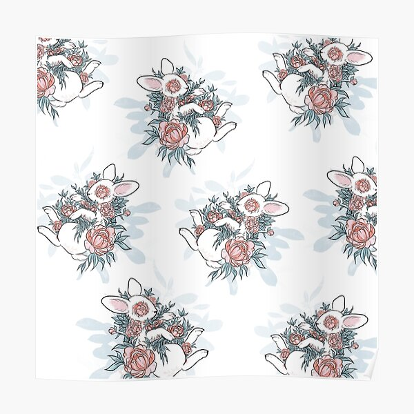 Floral Bunny Poster