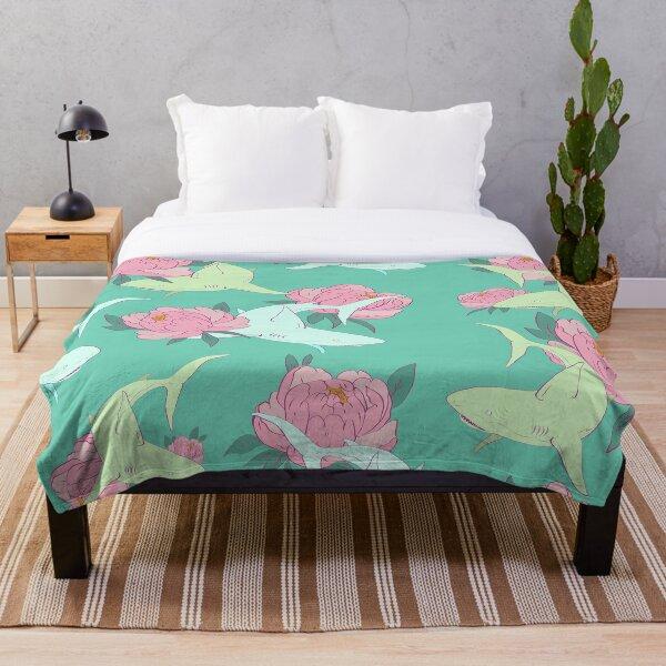 Floral Shark Throw Blanket