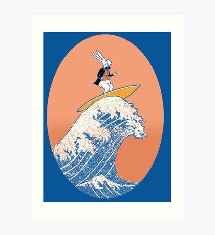 White Rabbit Surfing Art Print