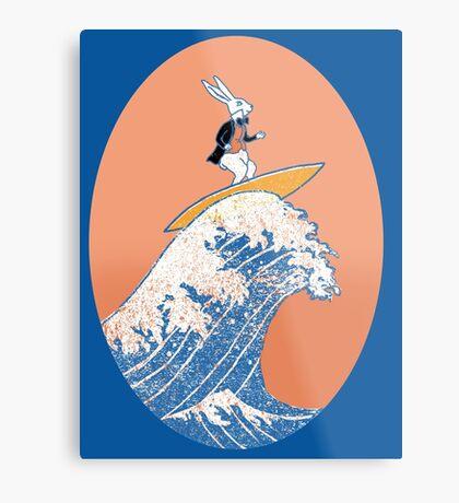 White Rabbit Surfing Metal Print