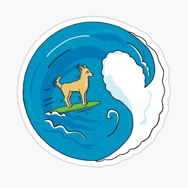 Surfing Chihuahua - Green Sticker