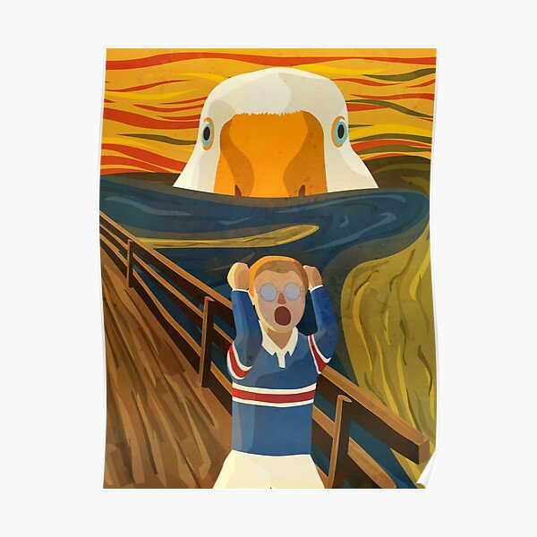 The Honk - Goose - The Scream Famous Painting Parody, Untitled, Meme ,Hjonk, Bonk, Canvas, Comic con Reusable Facemask, knife, Peace Was Never An Option Thematic Gift Poster