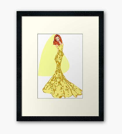 Fashion -yellow lace gown/ yellow flower pattern (91121 Views) Framed Print