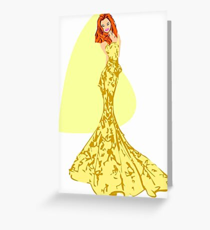 Fashion -yellow lace gown/ yellow flower pattern (91121 Views) Greeting Card