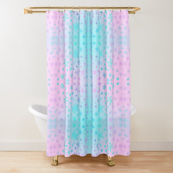 Frosty Pink and Blue Snowflakes by Moti Shower Curtain