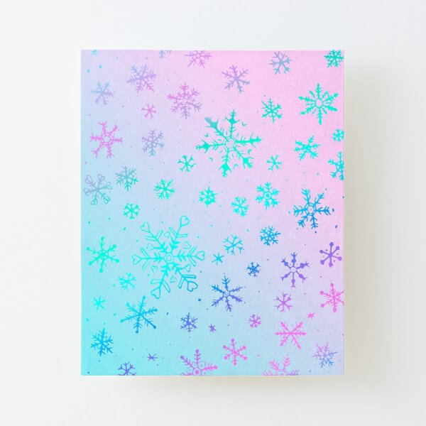 Frosty Pink and Blue Snowflakes by Moti Canvas Mounted Print