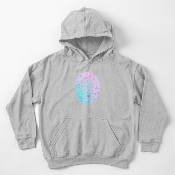 Frosty Pink and Blue Snowflakes by Moti Kids Pullover Hoodie