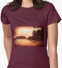 Sunset Sandy Beach Womens Fitted T-Shirt