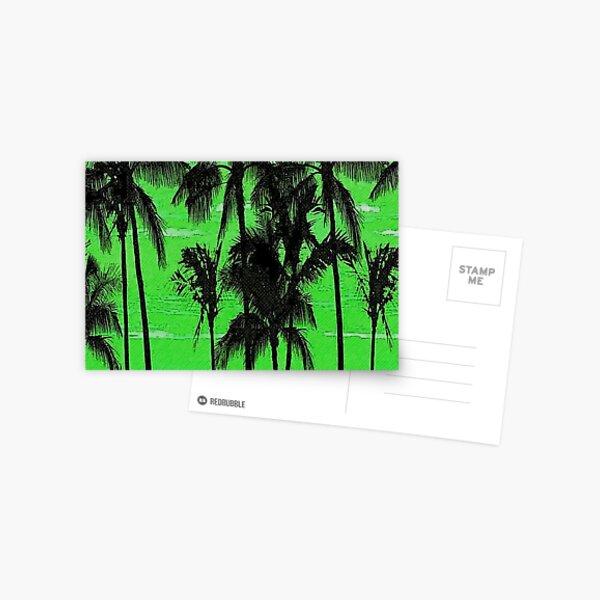Green Skies Cloud Palm Tree Island Postcard