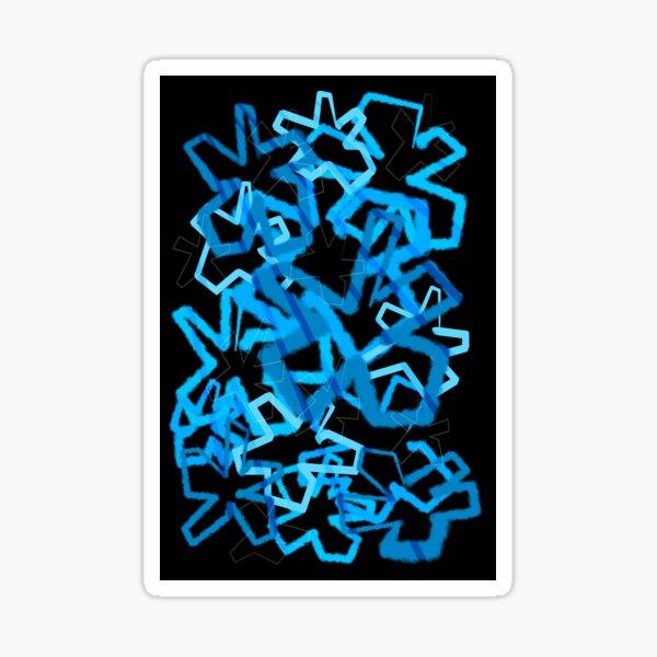 Funky Blue Graffiti Flowers Sticker
