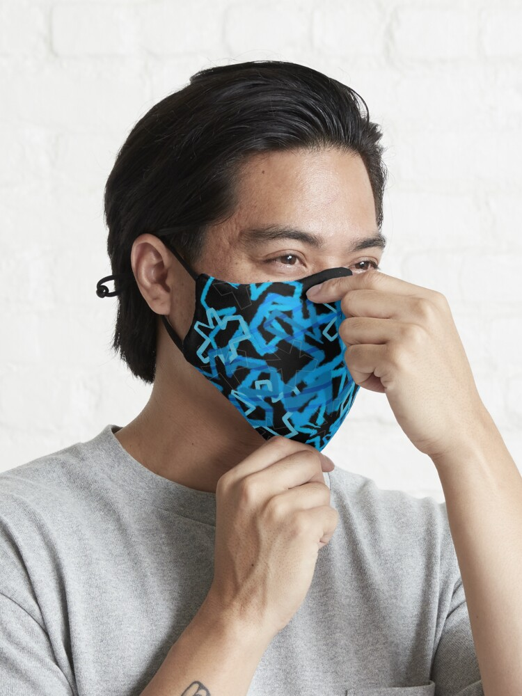Alternate view of Funky Blue Graffiti Flowers Mask