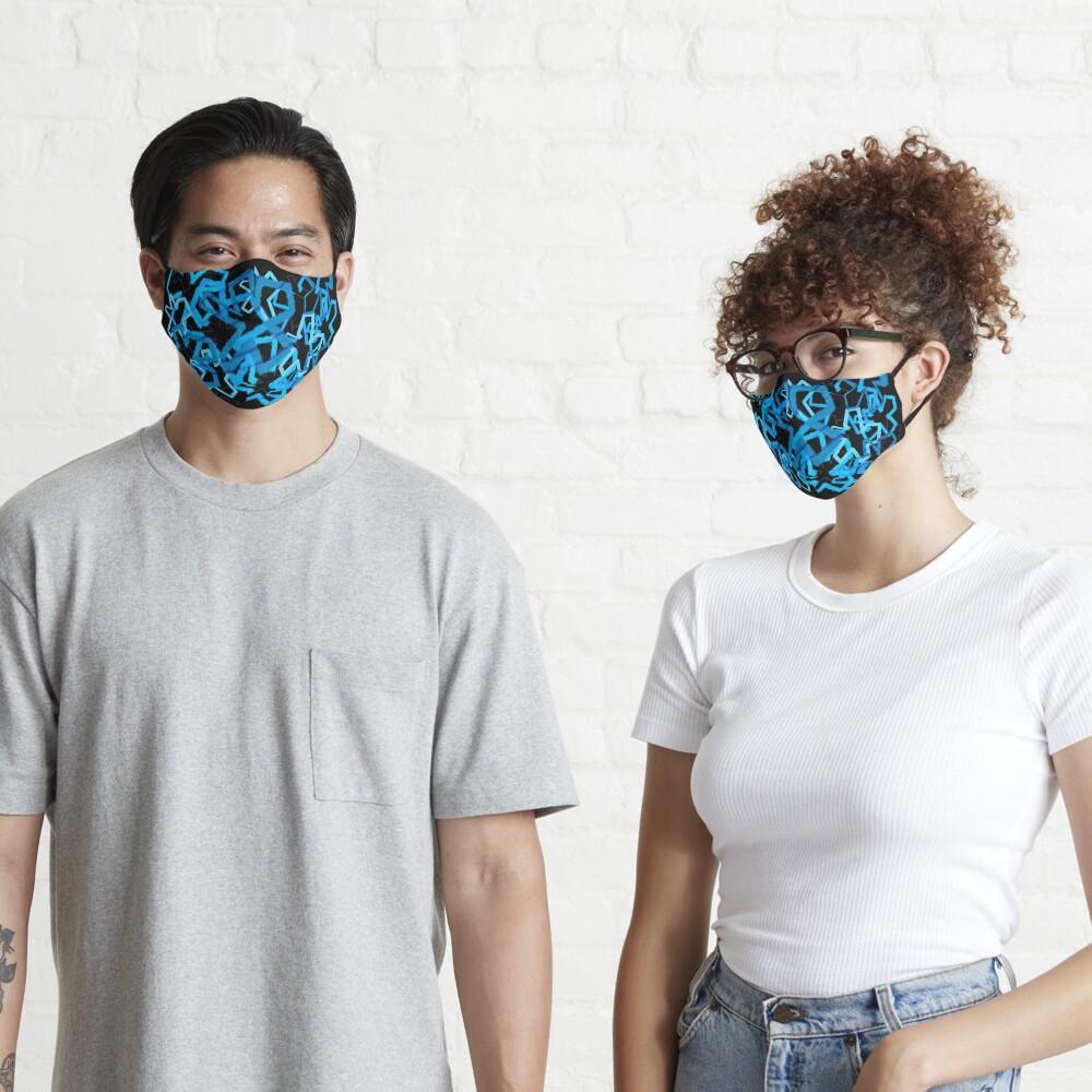 Funky Blue Graffiti Flowers Mask