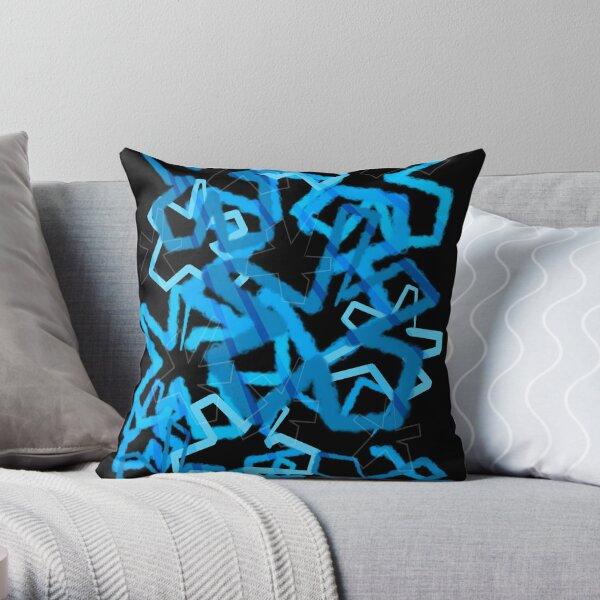 Funky Blue Graffiti Flowers Throw Pillow