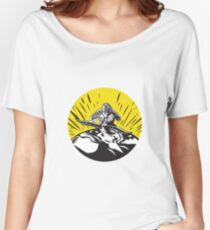 Tagaloa Releasing Bird Plover Earth Woodcut Circle Women's Relaxed Fit T-Shirt