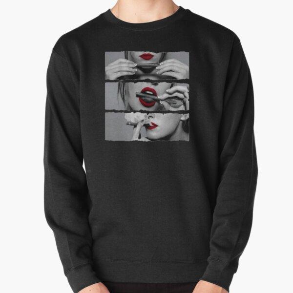 Mädchen rauchen Rolle rote Lippen Pullover