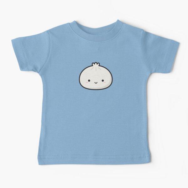 Cute Smiley Shy Dumpling on Baby Blue Baby T-Shirt