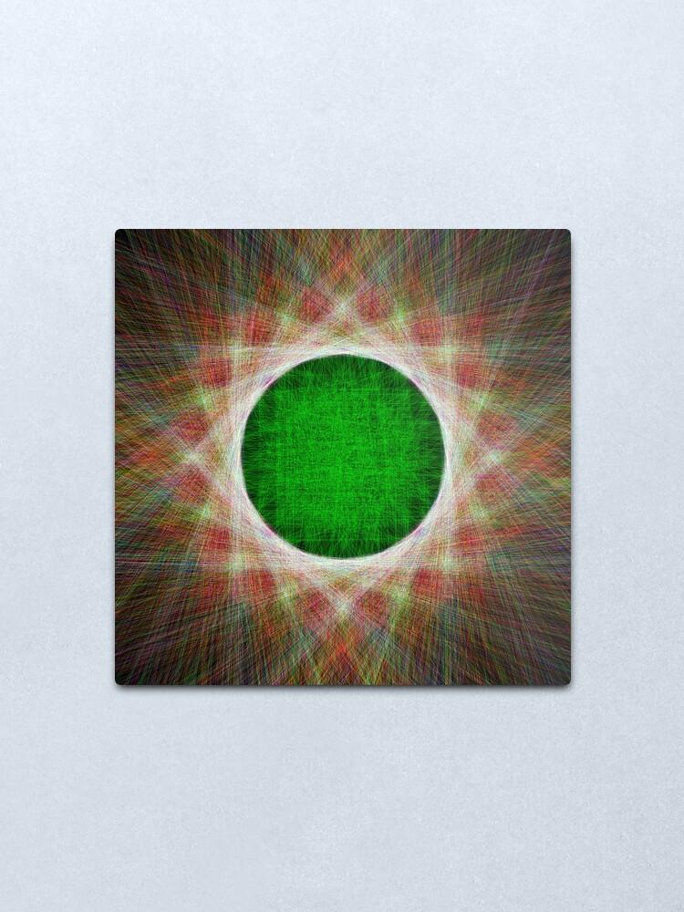 Alternate view of Green Button Planet Metal Print