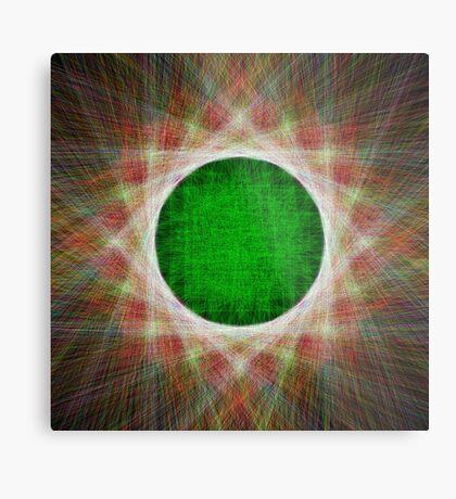 Green Button Planet Metal Print