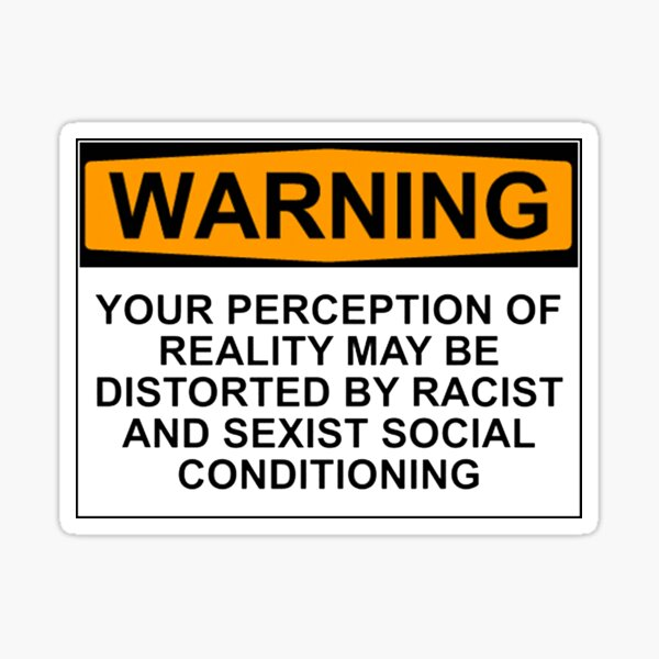 WARNING: YOUR PERCEPTION OF REALITY MAY BE DISTORTED BY RACIST AND SEXIST SOCIAL CONDITIONING Sticker