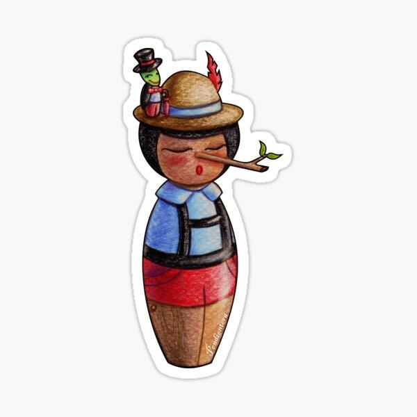 Kokeshi Pinocchio and Jiminy Cricket Sticker