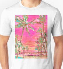 Vintage Hawaiian Beach Scene, Hot Pink Unisex T-Shirt