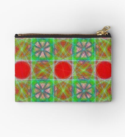 Nine Red Button Planets Zipper Pouch