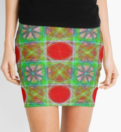 Nine Red Button Planets Mini Skirt