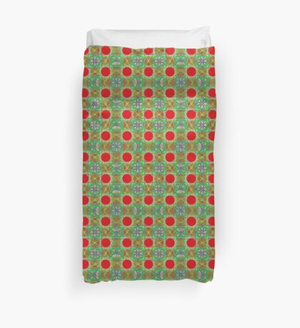 Nine Red Button Planets Duvet Cover