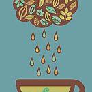 Retro raining tea leaves teacup by BigMRanch