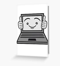 face funny thumbs hand press good best comic cartoon computer laptop notebook pc write screen mobile tablet Greeting Card