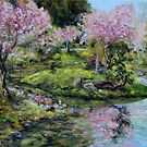 Cherry Blossoms Mayne Island Japanese Garden by TerrillWelch