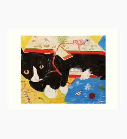 George Myrick - Christmas Bag Cat Art Print