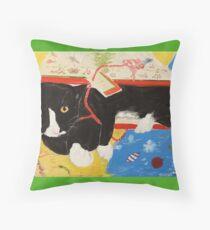 George Myrick - Christmas Bag Cat Throw Pillow