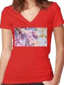 Cherry flowers Women's Fitted V-Neck T-Shirt