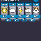 Mushroom Kingdom 5 Day Weather Forecast by Adho1982
