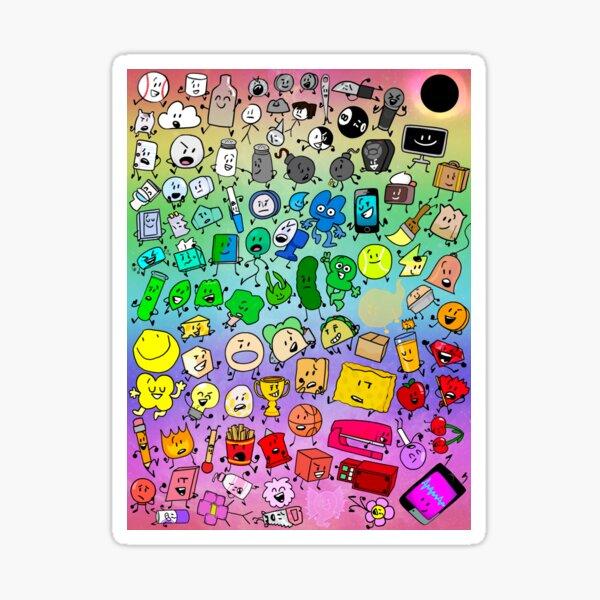 BFDI Inanimate Insanity All Characters (Rainbow) Sticker