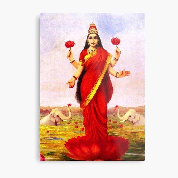 Lakshmi Kamala Devi Lotus Hindu Goddess Metal Print