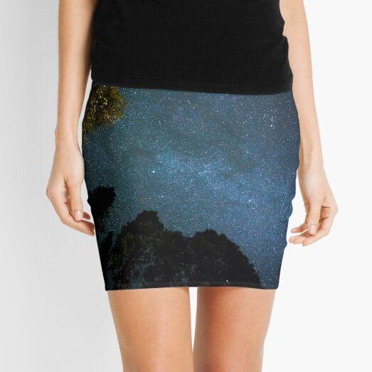 Galaxy Art Design   Night Stars Blue  Mini Skirt