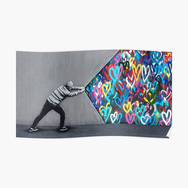 Behind The Curtain Graffiti Hearts Spray Paint Art Poster