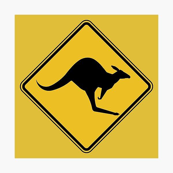 Caution Kangaroo Sign Photographic Print