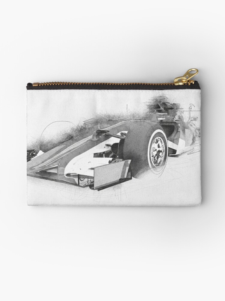 Formula 1 Car Drawing Zipper Pouch By Dimitrius Redbubble