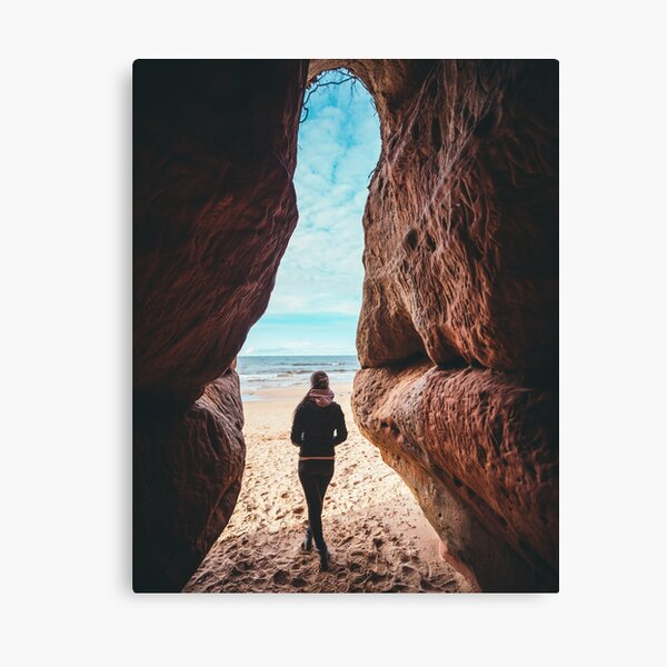 Girl in Cave, Sand Stone Latvia  Canvas Print