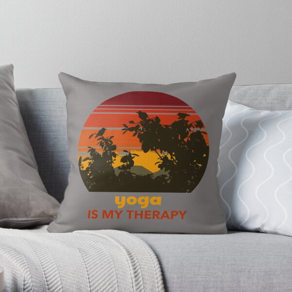 Yoga is my therapy sunset Throw Pillow