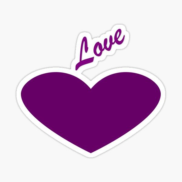 Purple heart saying Love Sticker