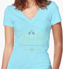 Fender - The Spirit of Rock 'N' Roll (Green) Women's Fitted V-Neck T-Shirt