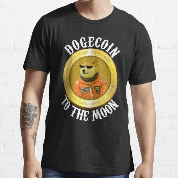 Dogecoin Cool Men's Moon Astronaut Meme Crypto doggy  Essential T-Shirt