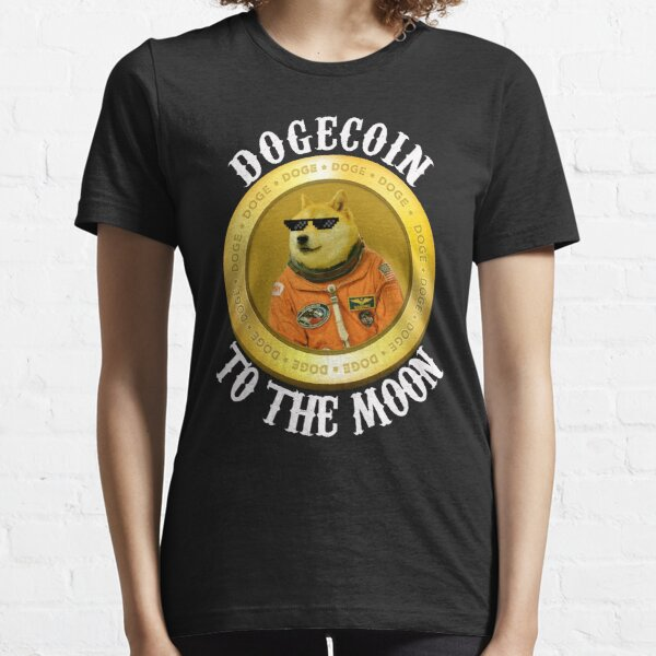 Dogecoin Cool Herren Mond Astronaut Meme Crypto Doggy Essential T-Shirt