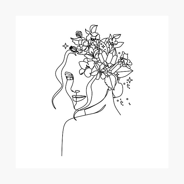 Minimal Line Art Woman with Crystals and butterflies Art Print Photographic Print