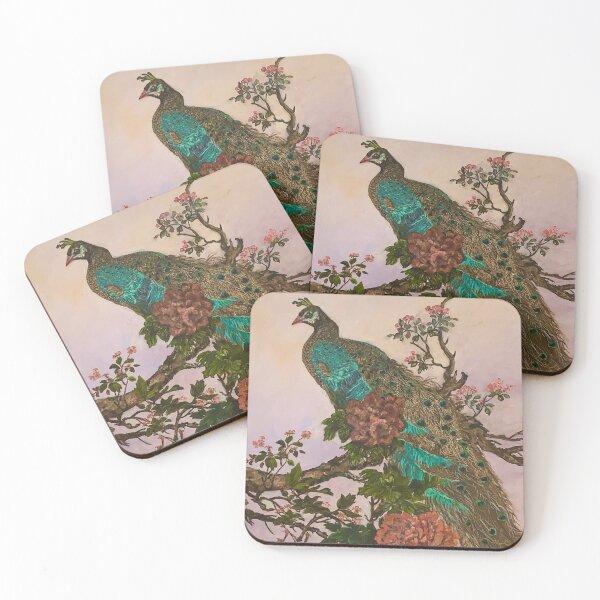 Beautiful Peacock Painting Coasters (Set of 4)