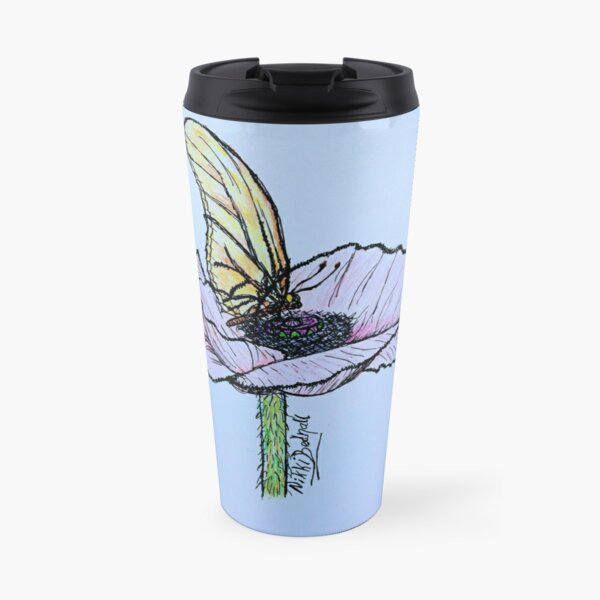 Resting butterfly on blue Travel Mug